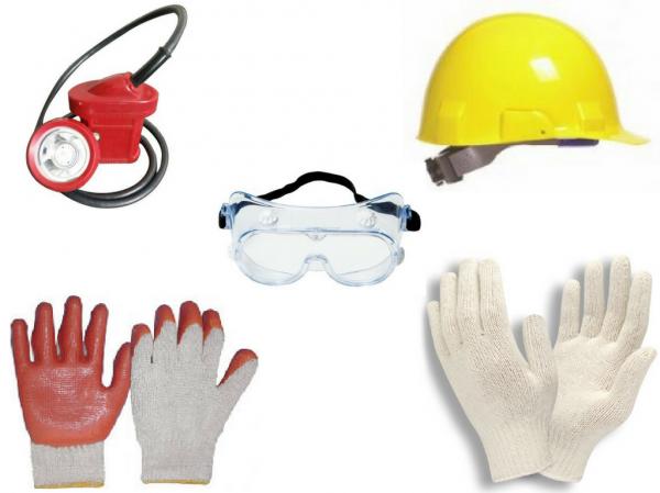 Goggles, Helmets, Mining Gloves, Mining Light